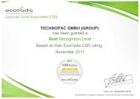 TECHNOPAC GMBH GROUP  EcoVadis Certification 21112017